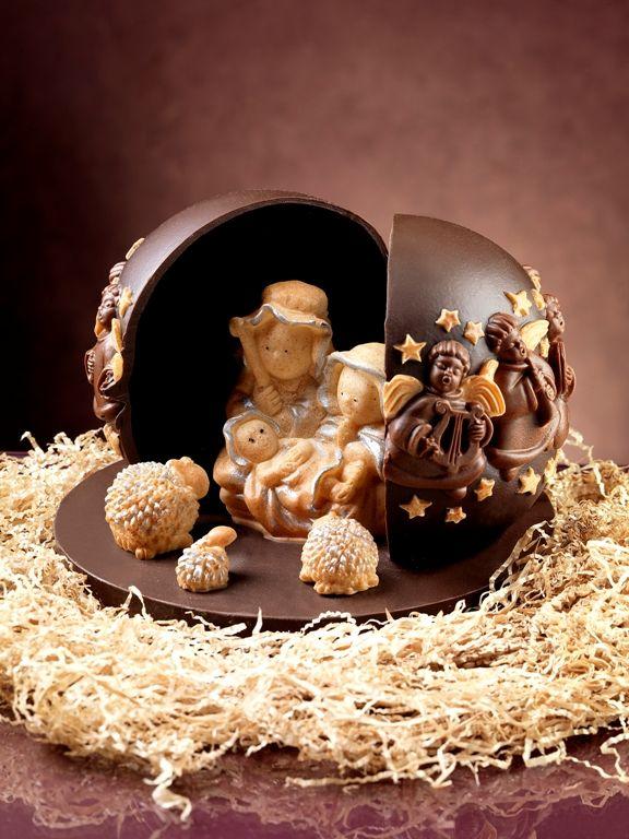 Presepe di Cioccolato 3D realizzato con gli stampi alimentari in silicone decosil. www.decosil.it