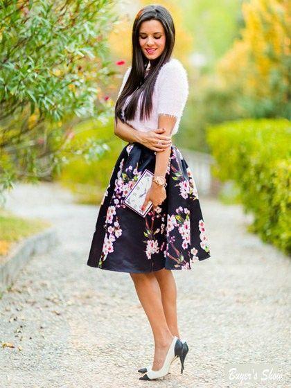 Sakura Floral Print High Waist Pleated Long Midi Skater Skirt