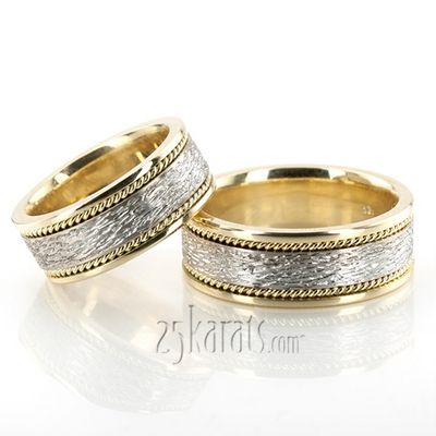 Antique Rough Finish Wedding Ring Set #antique #weddingring #25karats