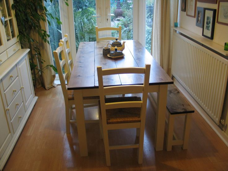 Dove Vintage hand made pine farmhouse table and bench with upcycled chairs.