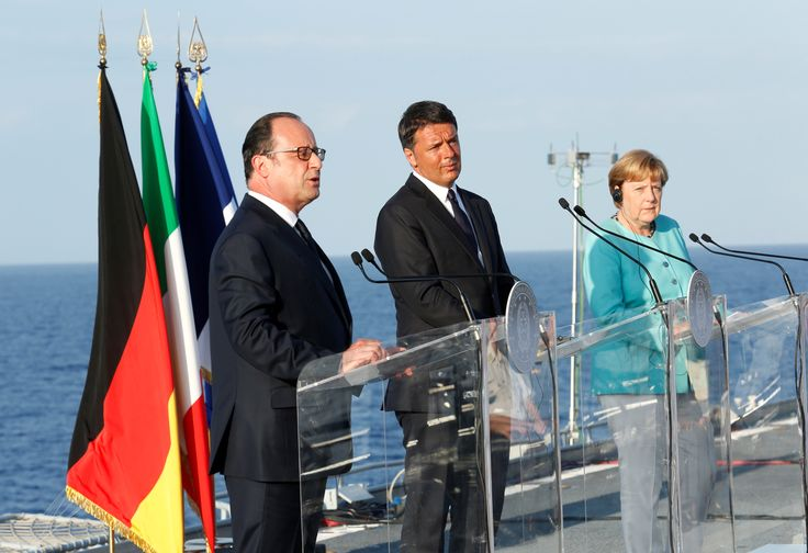 Matteo Renzi, François Hollande and Angela Merkel gathered in #Ventotene to discuss the future of #Europe after #Brexit. Read more: http://bit.ly/1uyWePb