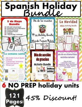 This holiday bundle is all that your Spanish class will need to celebrate culture in the Spanish-speaking world! Use images, vocabulary, games, technology and more to engage your students!Spanish Holiday Bundle includes the following activities: El dia de accion de gracias- Dia de accion de gracias vocabulary list- Spanish Thanksgiving Magic Squares- Spanish Thanksgiving Skit directions- Thanksgiving Skit rubric- Dia de accion de gracias Picture Flashcards- Vocab Word Flashcards- Directions…