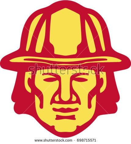 Illustration of a fireman fire fighter emergency worker head wearing hardhat viewed from front set on isolated white background done in retro style.  #firefighter #retro #illlustration