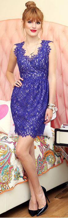 Who made Bella Thorne's purple lace dress dress and black pumps?