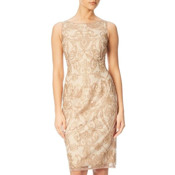 Adrianna Papell Sleeveless Embroidered Floral Cocktail Dress, Rose... ($205) ❤ liked on Polyvore featuring dresses, beige cocktail dress, floral maxi dress, long-sleeve midi dresses, floral print cocktail dress and floral print dress