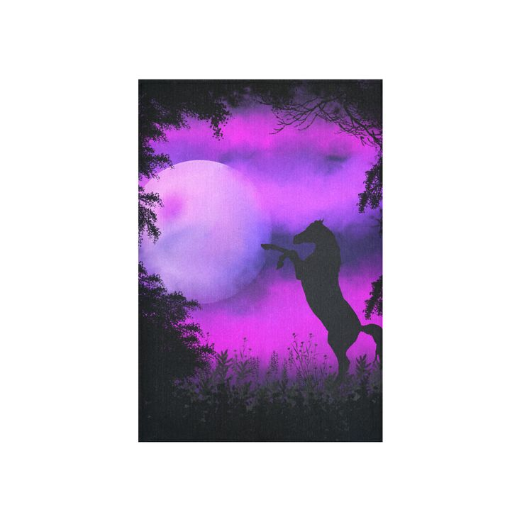 Purple sky with horse Cotton Linen Wall Tapestry 40 by Tracey Lee Art Designs