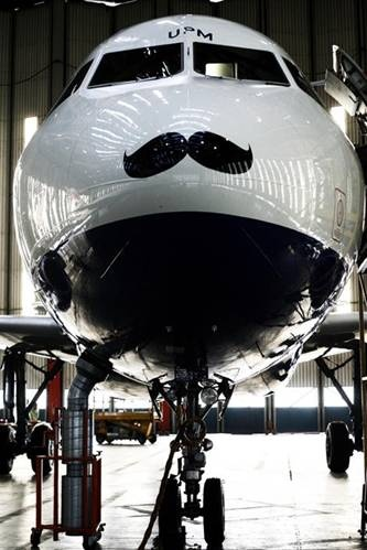 We love what British Airways has done in support of 'Movember' which raises money and awareness for men's health including prostate cancer and men's mental health.  Check out http://au.movember.com/ for more details.