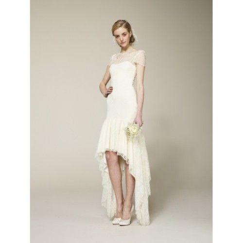 Beautiful Bateau Neck Short Sleeves High Low Wedding Dress with longer lace sleeves I u