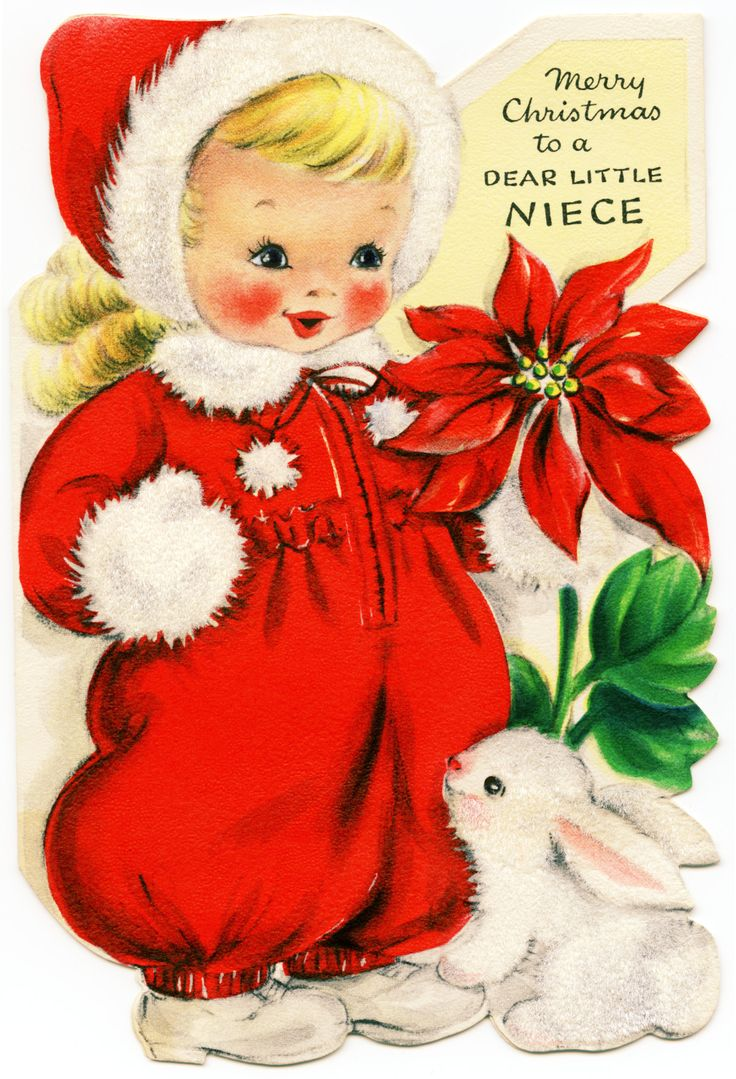 Old Design Shop ~ Free Printable Retro Christmas Card Girl In Red