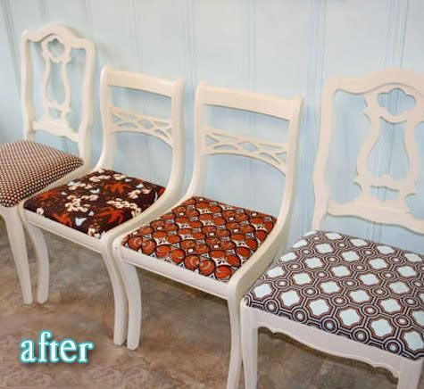 Paint odd chairs white and reupholster seats for cheap redo