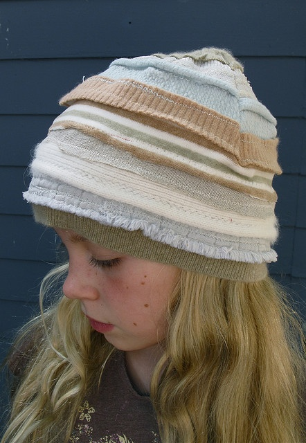 recycled cashmere hat for spring by eanie meanie, she seems to have just used sweater selvedge edges