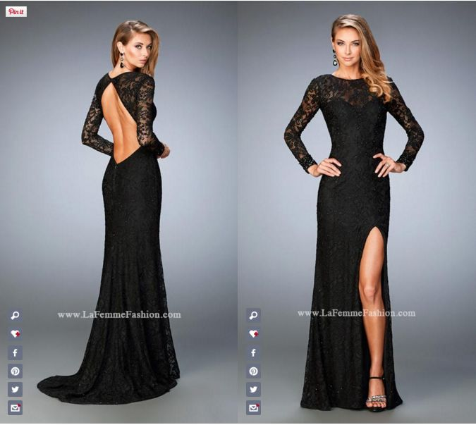 La Femme Prom style - 22409 long prom dress - black prom dress - formal dress - side slit dress - open back - lace - stone embellished - beaded cuffs