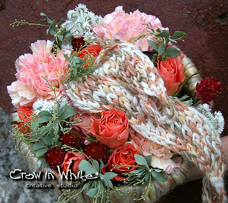 """Wedding bouquet """"Warm Up"""". Rose, carnation, eucaluptus and knitted element"""