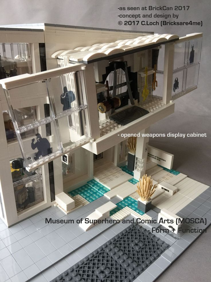 An original MOC built by AFOL © 2017 C.Loch (Bricksare4me) - side entrance with open weapons display cabinet. Blogged on https://www.archbrick.com/single-post/2017/05/05/MOSCA and interviewed at Lisaloveslego.com. #legobricks #moc #afol #modernarchitecture #photography #legobuildings #moderndesign #legomoc #museum #bricksare4me #superhero #comics #arts #architecturelego