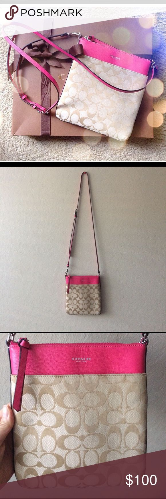2014 Coach Cross Body Purse Cute and fun pink cross body bag. One pocket in the front and two pocket on the inside. Bag was purchased in May 2014. Tarnish metal but can't tell unless inspected up close. No box or dust bag. One flaw: light black stain shown in the picture above. Barely noticeable. Coach Bags Crossbody Bags