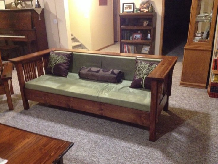 Homemade Arts and Crafts style couch.