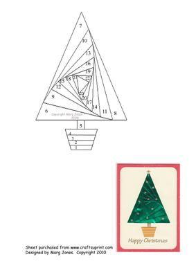 Christmas Tree Iris Folding Pattern on Craftsuprint designed by Margaret Jones - Easy iris folding pattern of a Christmas Tree. Use shiny paper and decorate with peel-offs and glitter. - Now available for download!
