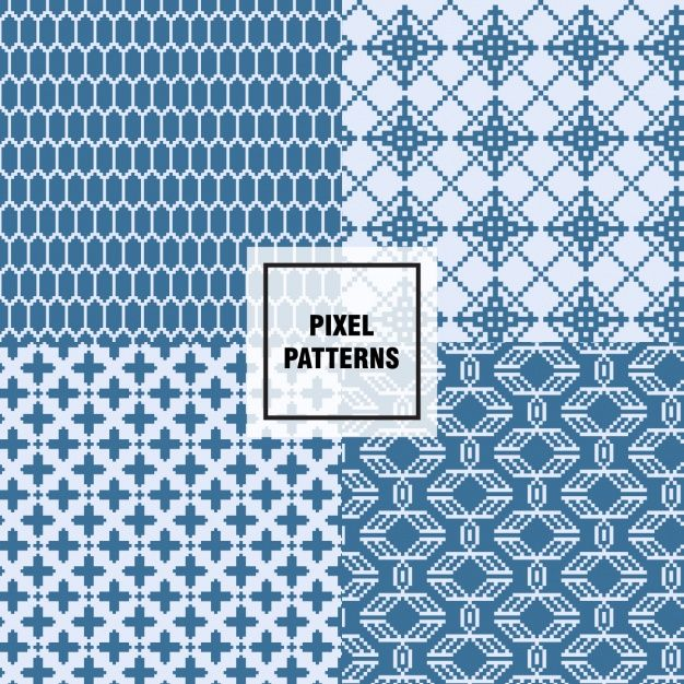 Pixel patterns collection Free Vector