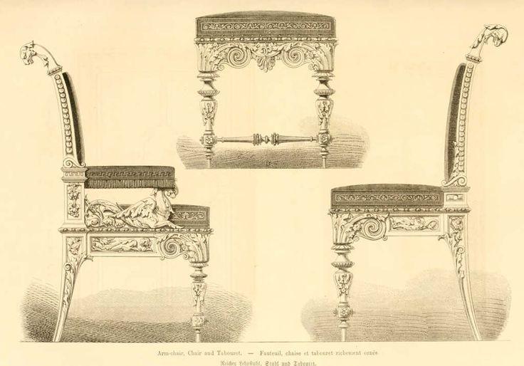 img/dessins meubles mobilier/fauteuil chaise et tabouret richement ornes.jpg