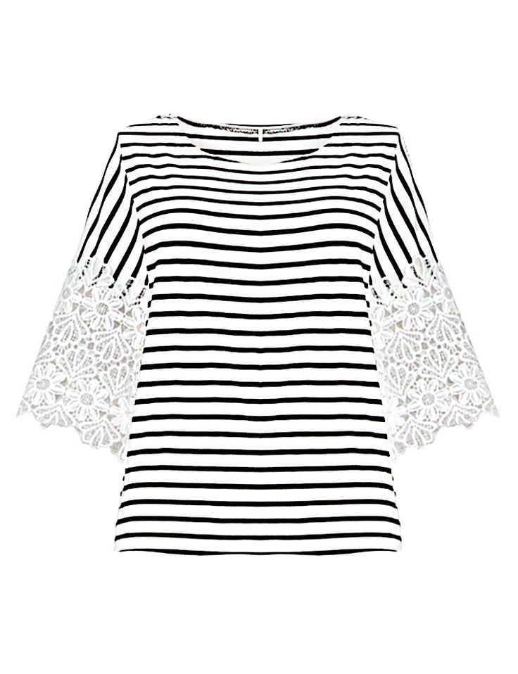 Striped Lace Tops - Black And White Top - Cute Tops