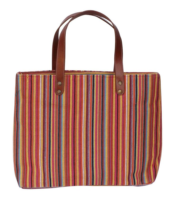 #Wholesale #Handmade Baguette #Handbag in Canvas Material with #Colorful Striped Pattern – Adorned with Brown Color Twin #Handles on the Top – Trendy #Handbags / Everyday #Purses from India