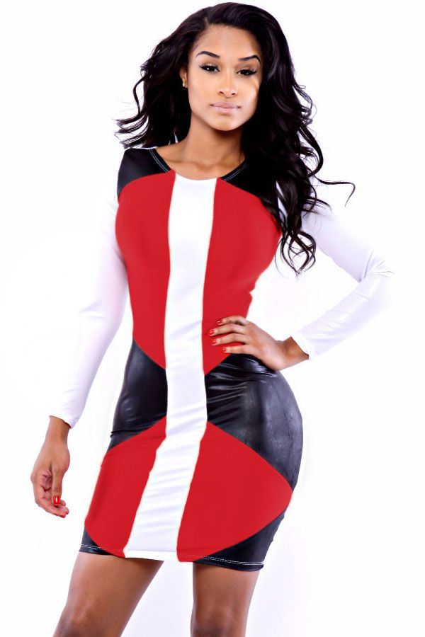 Red Faux Leather Speedway Bodycon Dress