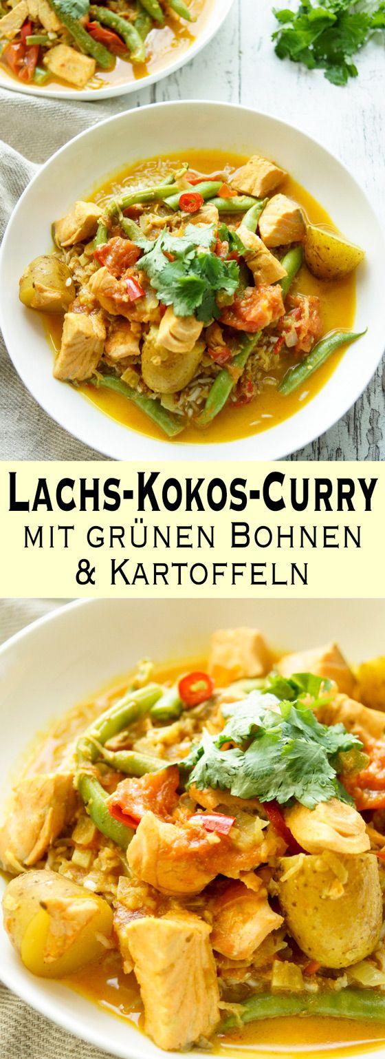Lecker, leicht und gleichfalls sättigend Lachs-Curry Rezept mit grünen Bohnen und Kartoffeln, das auch im Sommer ein leichtes und aromatisches Abendessen für warme Tage ergibt. Kokos Curry mit Fisch & Kurkuma. Einfache Gesunde Rezepte - Elle Republic