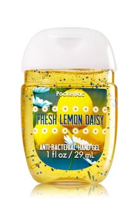 Fresh Lemon Daisy - PocketBac Sanitizing Hand Gel - Bath & Body Works - Now with more happy! NEW PocketBac is perfectly shaped for pockets & purses, making it easy to fight germs on-the-go! Plus, our all-new skin softening formula contains powerful germ-killers that keep your hands clean & soft.