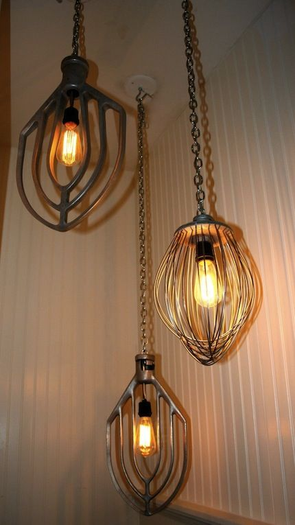 great article on repurposing items and creating interesting light fixtures. These use mixer blades. You can also use vintage metal vases, rusty old bed springs, metal serving plates... get creative!