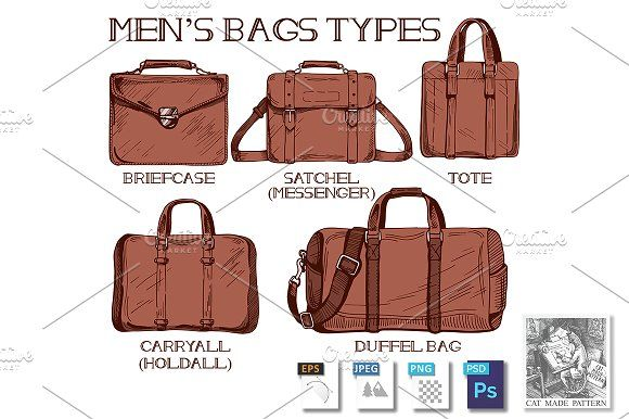 Men's bags types by CatMadePattern on @creativemarket