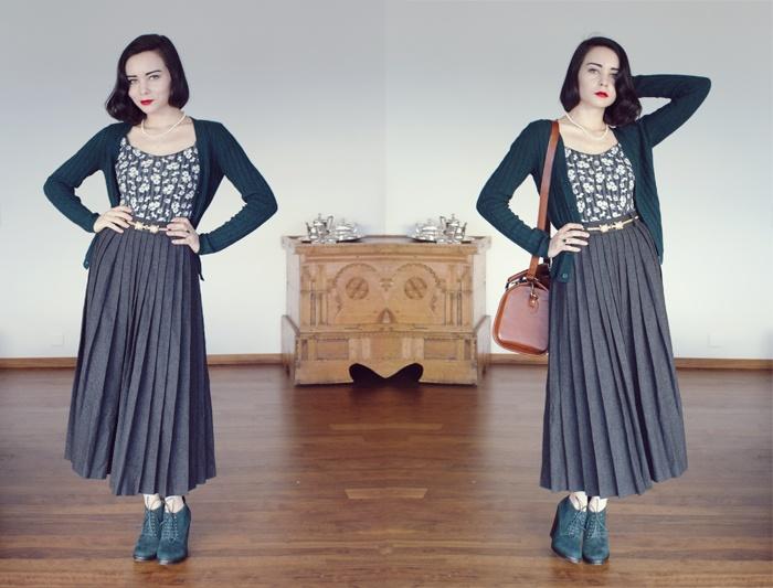 wool skirt, belt & bodysuit: vintage, cardigan: topshop, shoes: carvela, bag: asos.com