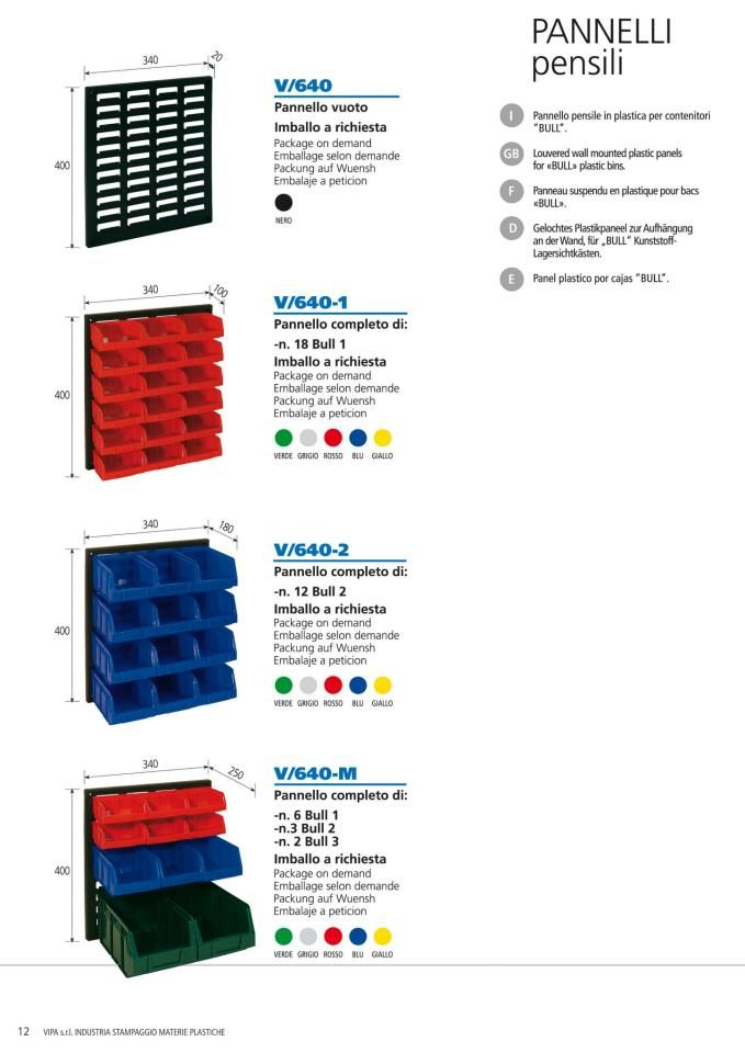 """Louvered wall mounted plastic panels for """"BULL"""" plastic bins."""