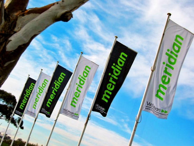 Flag poles with custom branded flags.