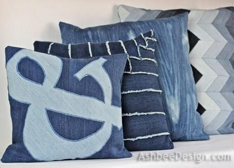 DIY Pillowcases : DIY  Old Jeans Recycled into Ampersand Pillow DIY Pillowcase DIY Home DIY Decor