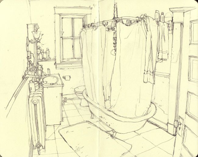 daniel robbins | This drawing is of a bathroom with a shower curtain being in the center of the drawing. The perspective in this drawing is very realistic and looks as if it is receding in space. The lines feel light and exact.