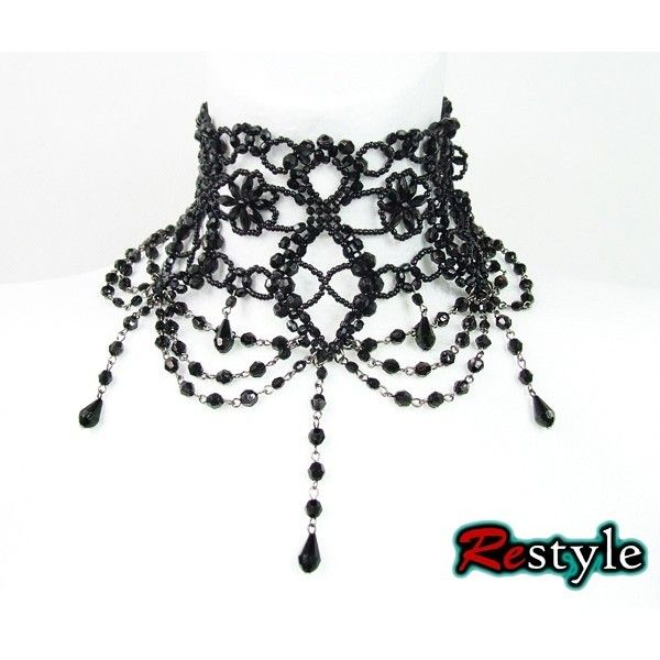 """Big Black victorian beaded choker """"BURLESQUE"""" ❤ liked on Polyvore featuring jewelry, necklaces, goth choker, victorian necklace, beaded necklaces, goth jewelry and gothic jewelry"""