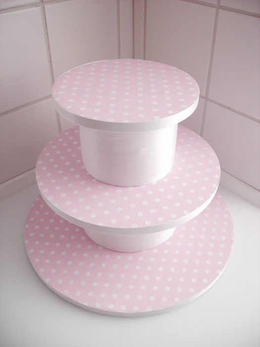 DIY Cupcake Stand - Worked great for 1st birthday with cupcakes on the lower tiers and the smash cake on top.  Can easily match to your party decor and add additional tiers if needed.