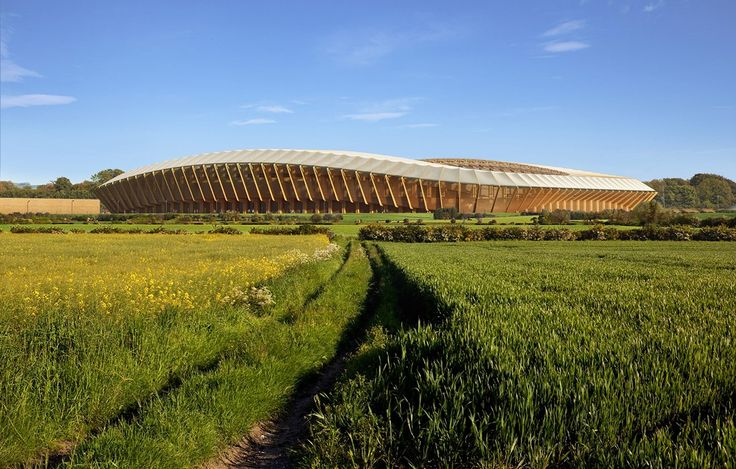 The new construction materials even for large venues – new stadium for Forest Green Rovers in Stroud, UK by Zaha Hadid architects, rendering MIR #architecture in #wood