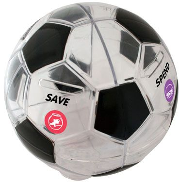 """NEW - Money Savvy Soccer Ball arrives this week!  Cool new 4-chambered bank to help teach kids money choices.  Empties through separate openings in the base - 7"""" diameter.  Includes glittery new goal-setting sticker sheet.  Great gift for kids 4 - 11!  $19.99"""