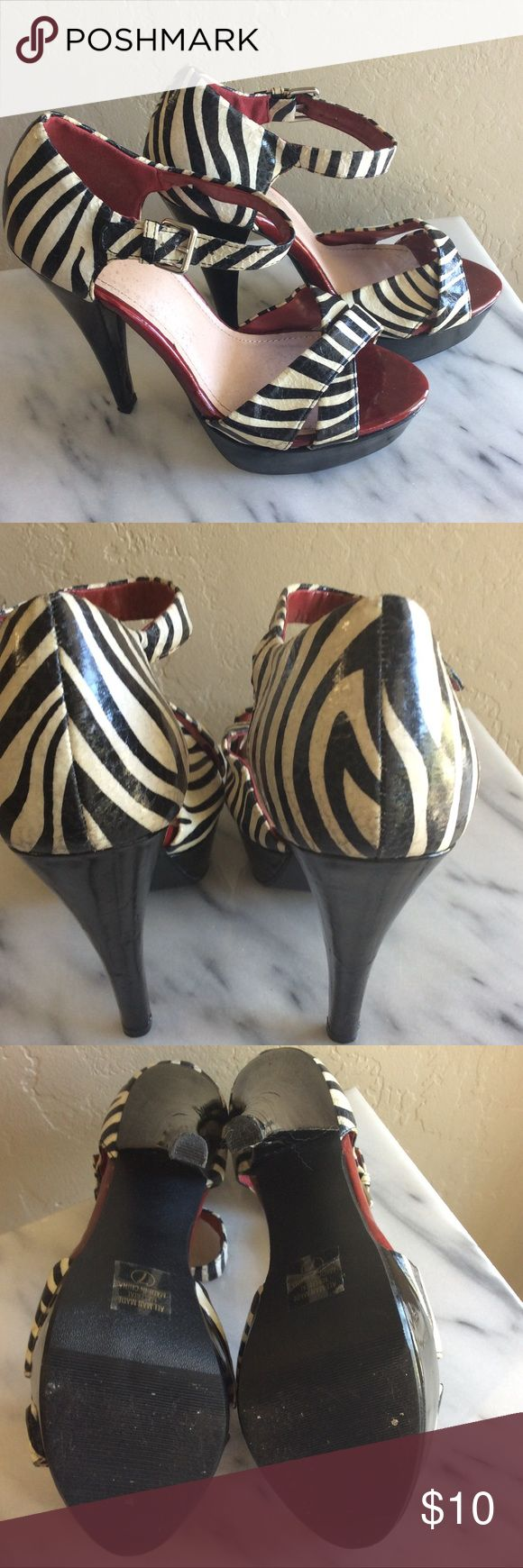 Zebra Heels Heart in a D Zebra shoes in good preowned condition heart in a d Shoes Heels