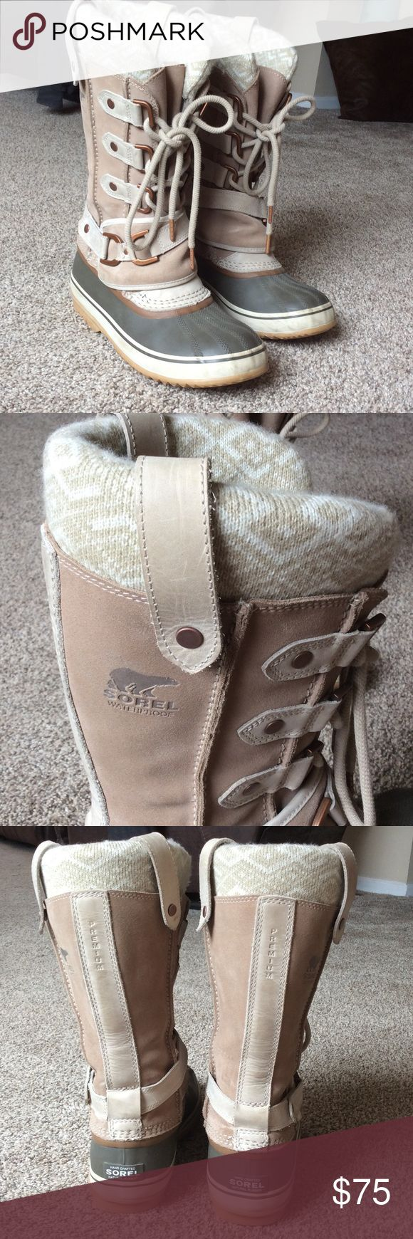 Sorel Joan of Arctic Waterproof Winter Boots Super cute, VERY warm winter/ snow boots! Heavy duty rubber sole and thick knit print to upper leg area. Great condition! Sorel Shoes Winter & Rain Boots