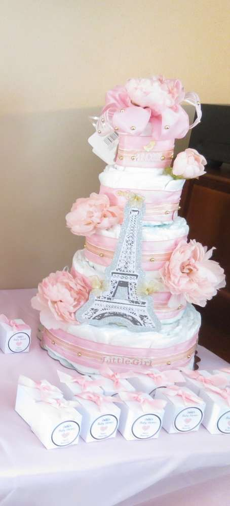 Pretty diaper cake at a Paris baby shower!  See more party planning ideas at CatchMyParty.com!