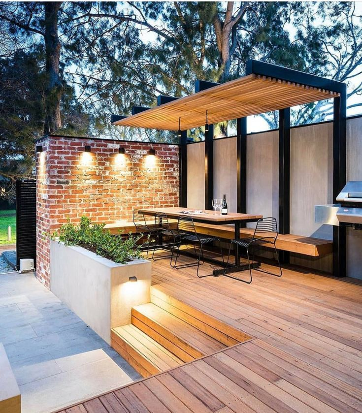 Inspiring city garden with raised hardwood deck, what an atmosphere! See also … – # Atmosphere # Also # One # for #getr …