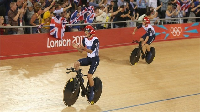 Peter Kennaugh and Steven Burke of Great Britain celebrate winning gold  Peter Kennaugh (L) and Steven Burke of Great Britain celebrate winning gold and setting a new world record in the Men's Team Pursuit Track Cycling final on Day 7 of the London 2012 Olympic Games at Velodrome