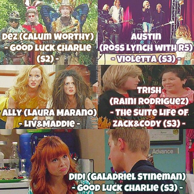 "Here is a Collage Pic made by Austin and Ally Italia and i love it cause it shows different shows that the cast has Been on different roles and I love remembering watching Suite life of Zack and Cody and when he Kissed her then she Slapped him I miss the old Disney channel but Love Austin and ally from the ""New"" Disney channel"