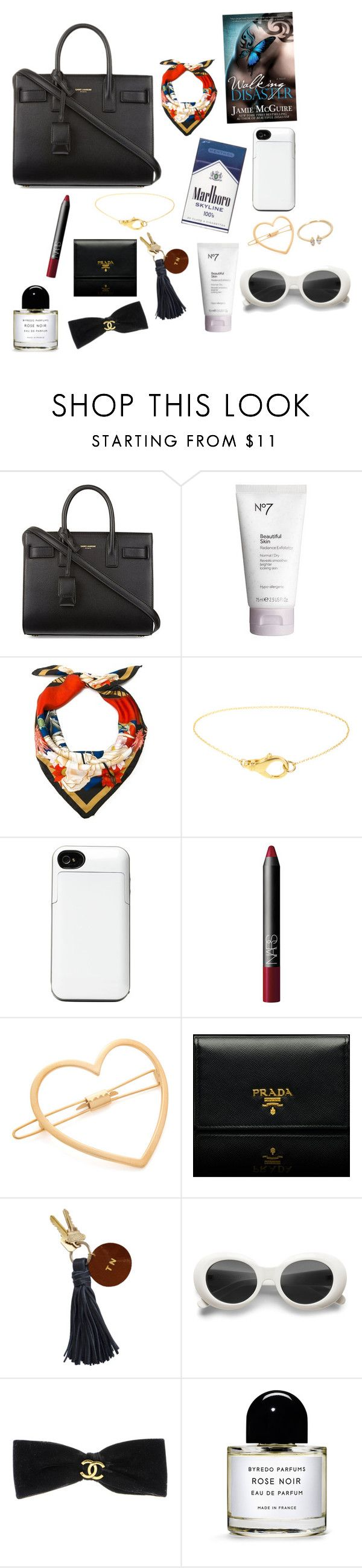 """tote"" by imimidoll ❤ liked on Polyvore featuring Yves Saint Laurent, Boots No7, St. Piece, Quiksilver, NARS Cosmetics, Mrs. President & Co., Prada, Chanel, Byredo and Loren Stewart"