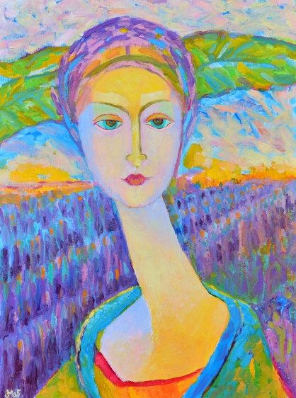 Lavender Lady original oil painting. Woman by TanabeStudio on Etsy