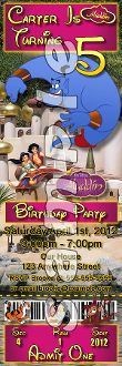 ALADDIN TICKET STYLE INVITATIONS (WITH ENVELOPES), Aladdin birthday invitations