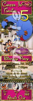 ALADDIN TICKET STYLE INVITATIONS (WITH ENVELOPES), Aladdin birthday invitations