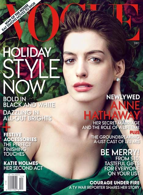 Anne Hathaway Covers Vogue US December 2012